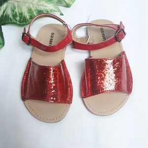 New Old Navy Toddler Girls Red Sparkle Shoes Sz 9